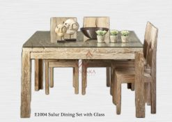 Sulur Wooden Dining Set with Glass