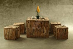 Square Reclaimed Teak Living Set